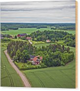 Farms And Fields In Sweden North Europe Wood Print