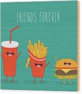 Fast Food Menu. Cola, Hamburger And Wood Print