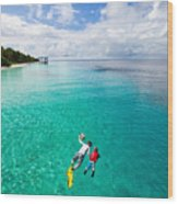 Father And Son Snorkeling In A Tropical Wood Print