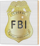 Fbi Badge Wood Print