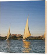 Felucca On The Nile River Wood Print