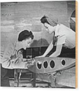 Female Workers Working On Plane Wood Print