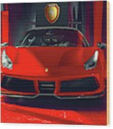 Ferrari Red Wood Print