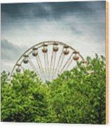 Ferris Wheel Behind Trees Wood Print
