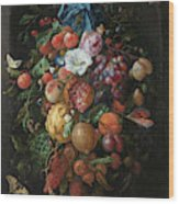 Festoon Of Fruit And Flowers, 1670 Wood Print