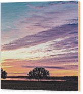 Fiery Sunset Over Canyon Lake - Comal County - Central Texas Hill Country Wood Print