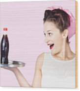 Fifties Style Female Waiter Serving Up Soda Wood Print