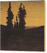 Fir Trees At Sunset Wood Print