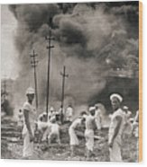 Fire In Oil Plant In Mexico Wood Print