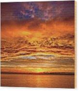 Fire Over Lake Eustis Wood Print