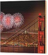 Firework At San Francisco, California Wood Print