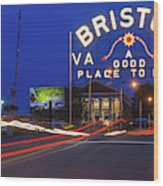 First Night Of The Bristol Sign With New Led Bulbs Wood Print