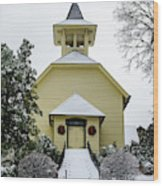 First Presbyterian Church In The Snow Wood Print