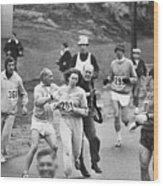 First Women In Boston Marathon Wood Print