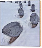 Fish in Snow Wood Print