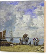 Fishermens Wives At The Seaside - Digital Remastered Edition Wood Print