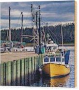 Fishing Boats At Wharf In Marie Joseph Wood Print