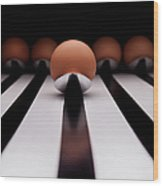 Five Brown Eggs Held In Five Stainless Wood Print