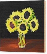 Five Sunflowers Wood Print