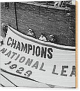 Flag Commemorating The Chicago Cubs Wood Print