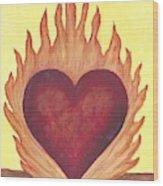 Flaming Heart Wood Print