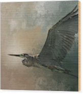 Flight Of The Great Blue Wood Print