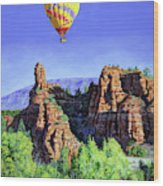Flight Over Thumb Rock Wood Print