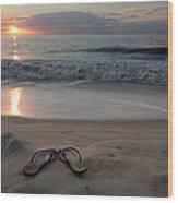 Flip-flops On The Beach Wood Print