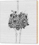 Floral Ostrich Wood Print