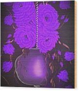 Floral Roses With So Much Passion In Purple  Wood Print