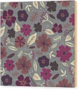 Floral Seamless Pattern. Colored Wood Print