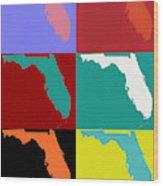 Florida Pop Art Map Wood Print