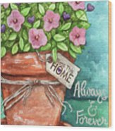 Flower Pink Bless This Home Wood Print