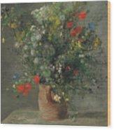 Flowers In A Vase, Circa 1866 Wood Print