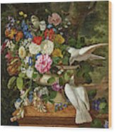 Flowers In A Vase With Two Doves Wood Print