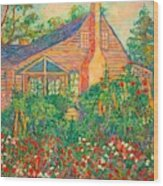 Flowery Backyard Wood Print
