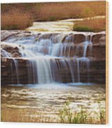 Flowing Water On The Yellow Rock Wood Print