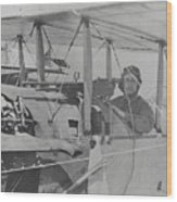 Flyer In Aircraft Cockpit Wood Print