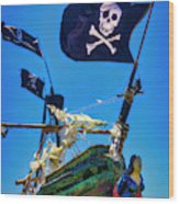 Flying The Pirates Colors Wood Print
