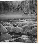 Fog On Yosemite River Wood Print