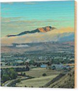 Fog Over Squaw Butte Wood Print