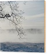 Fog Over The River Wood Print