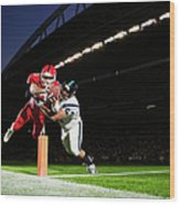 Football Player Diving Into End Zone Wood Print