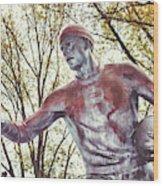 Football Statue - Rutgers University Wood Print