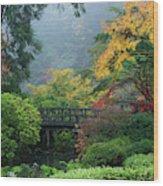Footbridge In Japanese Garden Wood Print
