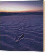 Footprint On Dunes Wood Print