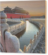 Forbidden City In China During Sunset Wood Print