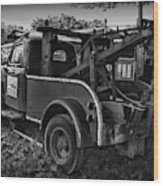 Ford F4 Tow The Truck Business End Black And White Wood Print