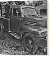 Ford F4 Tow The Truck Hook And Book Black And White Wood Print