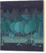 Forest Landscape In A Flat Style In The Wood Print